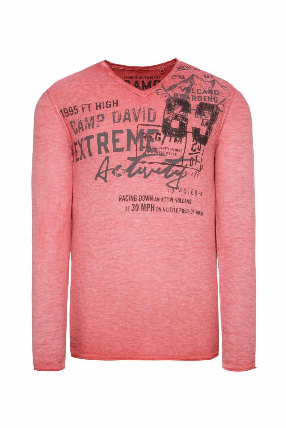 Leichter Pullover in Linksstrick mit Used Print powder red