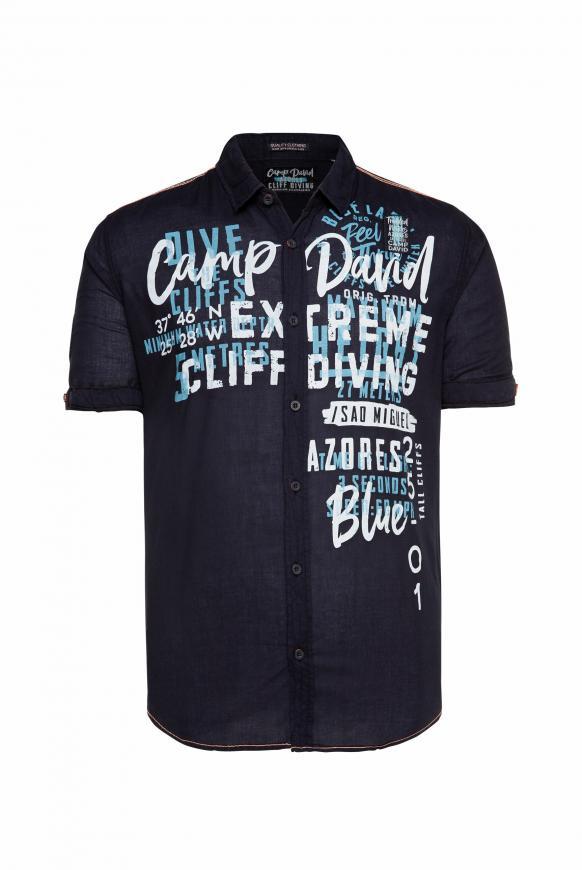 Leichtes Freizeithemd mit Frontprint blue navy
