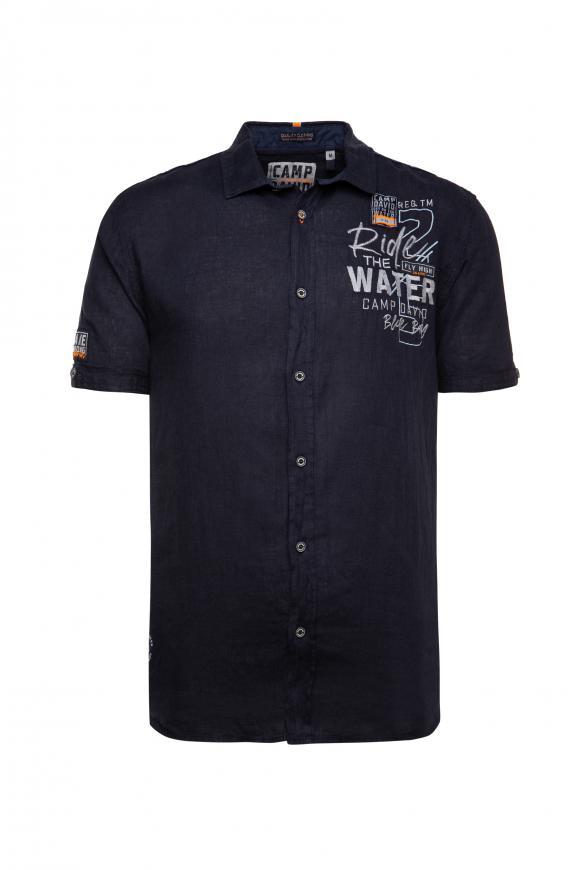 Leinenhemd mit Rücken-Artwork thunder blue