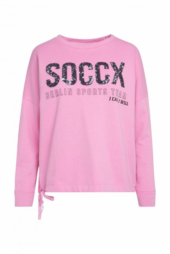 Logo-Sweatshirt mit Bindeband im Saum candy rose