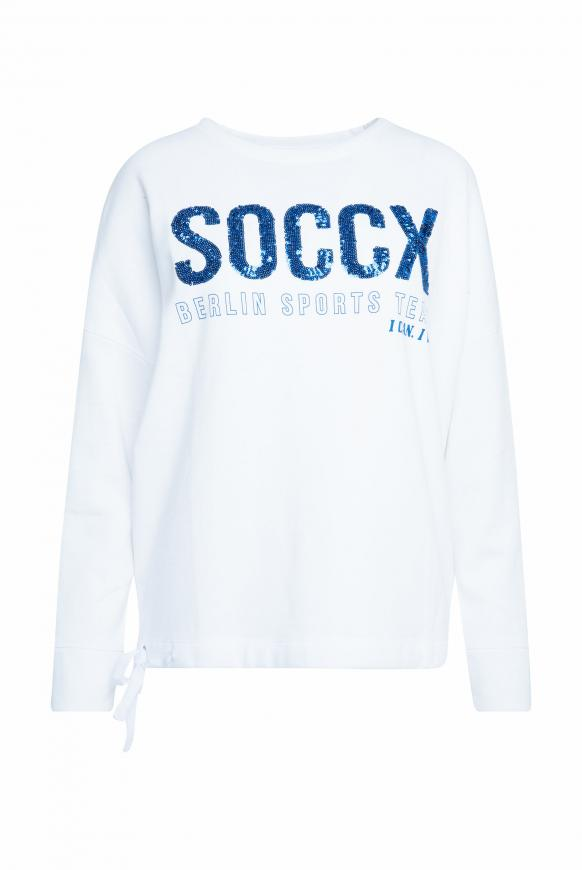 Logo-Sweatshirt mit Bindeband im Saum opticwhite