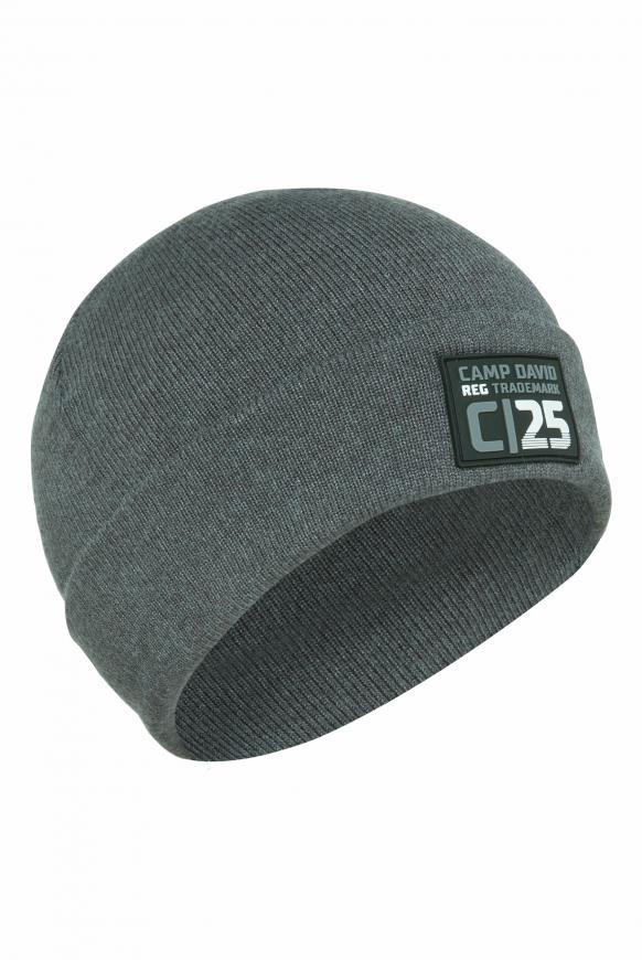 Mütze mit Rubber Patch anthra melange