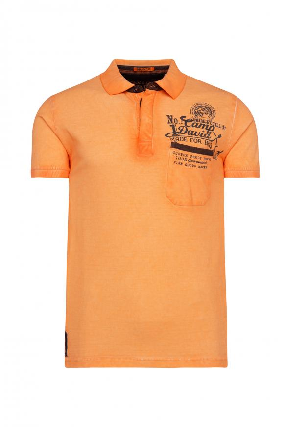 Oil Dyed Polo mit Tasche und Back Print spicy orange