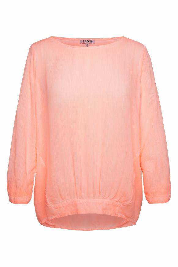 Oversized-Bluse im Materialmix orange glow