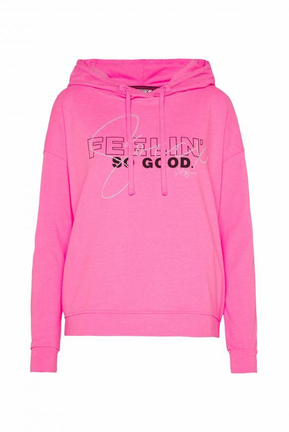 Oversized Sweatshirt mit Meshkapuze knockout pink