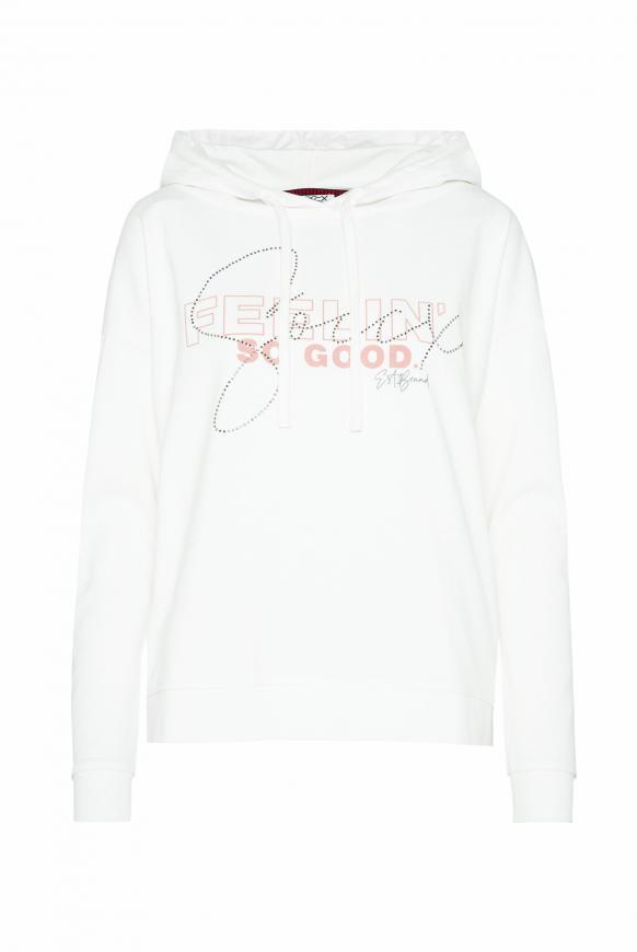 Oversized Sweatshirt mit Meshkapuze ivory