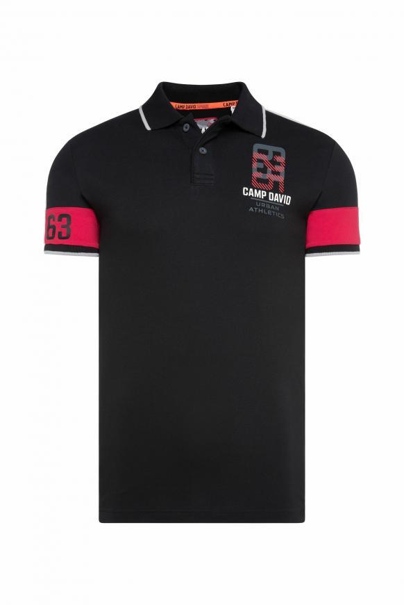 Pikee-Polo mit Colour-Design black