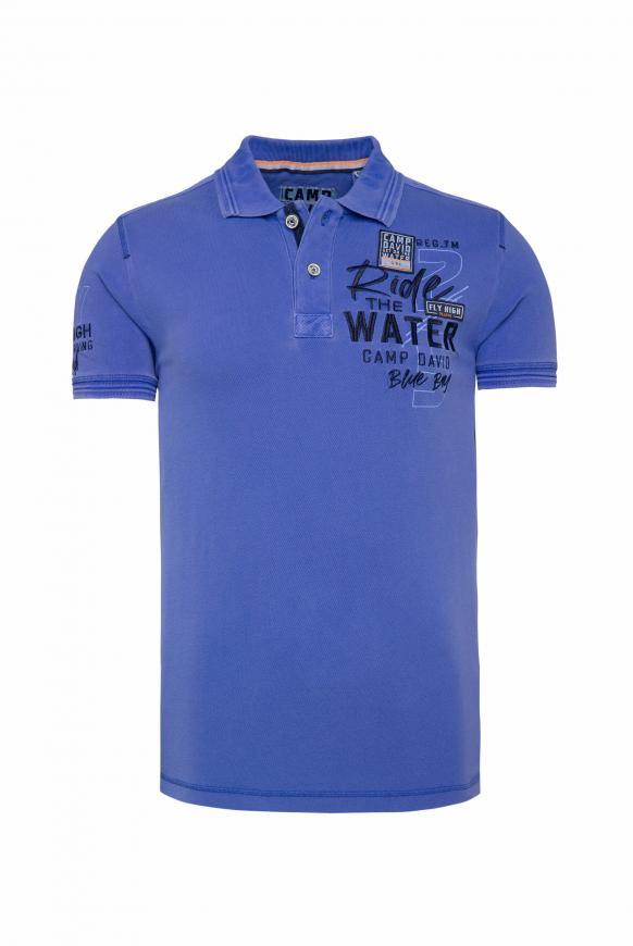 Pikee-Polo mit Wasch-Effekt und Artworks action blue