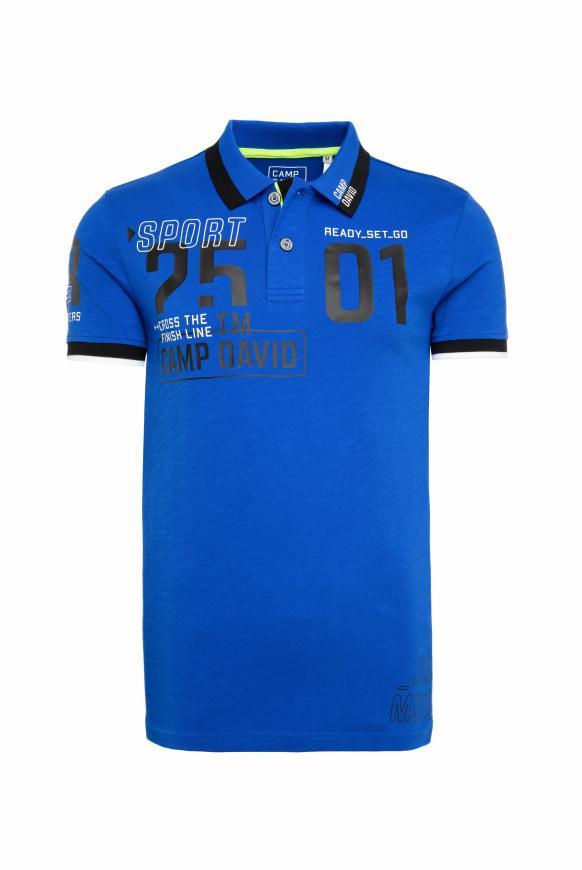 Polo aus Flammgarn mit großem Foliendruck urban blue