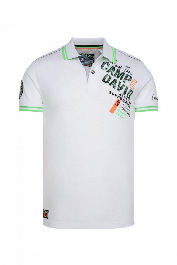 Poloshirt aus Flammgarn mit Neon-Details opticwhite