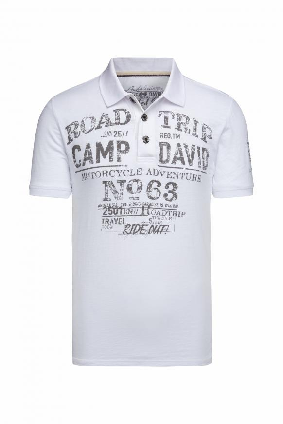 Poloshirt aus Flammgarn mit Used Prints opticwhite