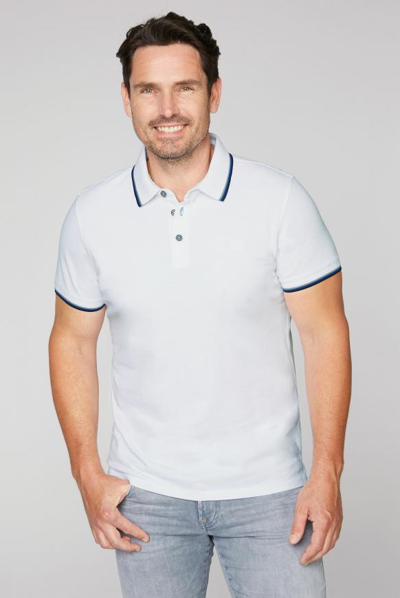 Poloshirt aus Pikee mit Kontraststreifen opticwhite
