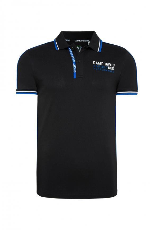 Poloshirt aus Pikee mit Kontraststreifen black