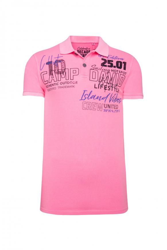 Poloshirt aus Pikee mit Label-Applikationen neon pink