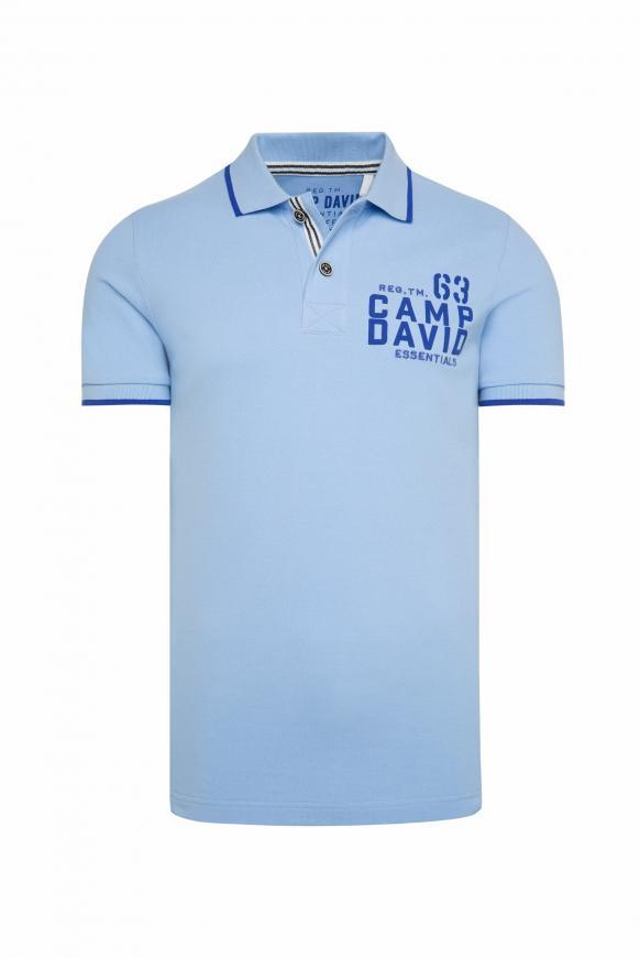 Poloshirt aus Pikee mit Logo Puff Print summer blue