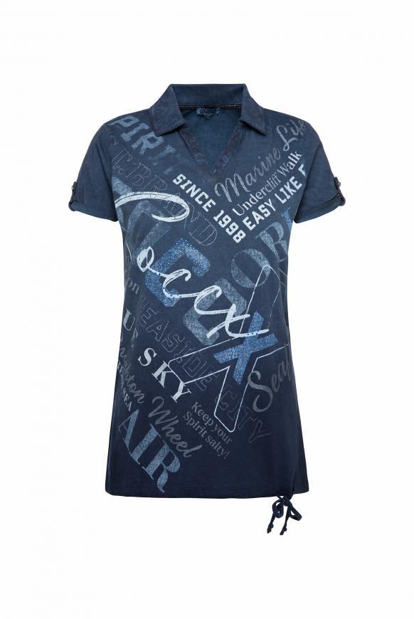Poloshirt mit glitzerndem Wording Print nautic navy
