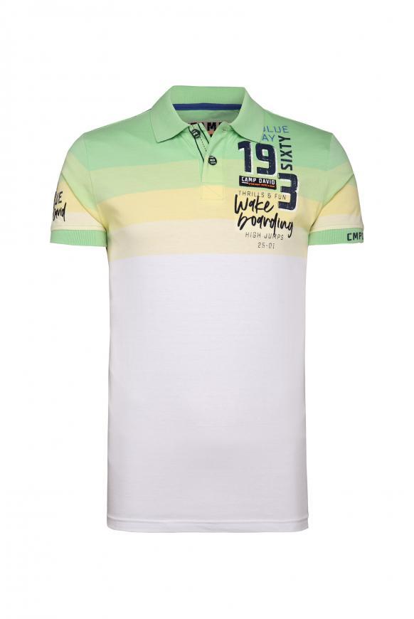 Poloshirt mit Streifen-Dessin und Artworks kiwi green