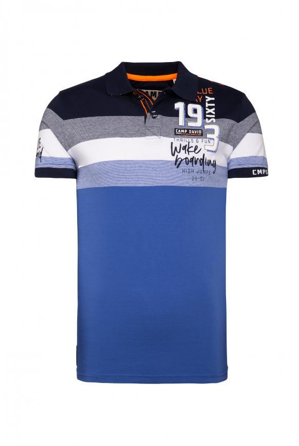 Poloshirt mit Streifen-Dessin und Artworks thunder blue