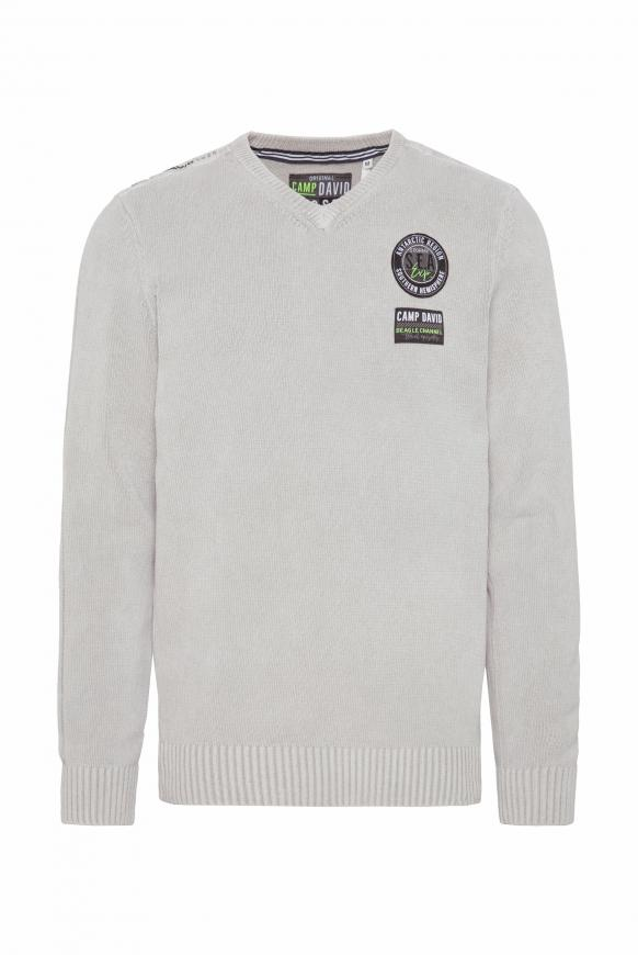 Pullover aus Chenille mit Label Patches light grey
