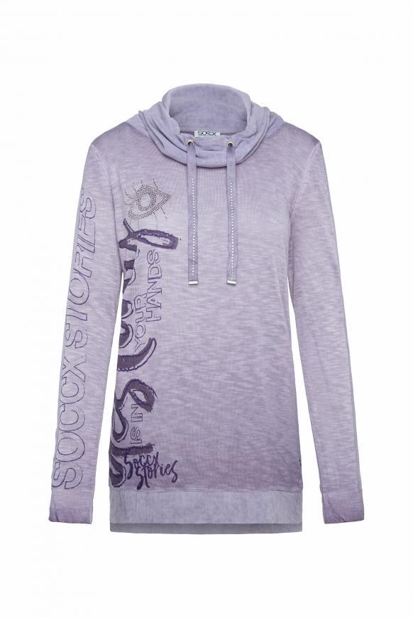Pullover im Materialmix mit Artwork magic violet