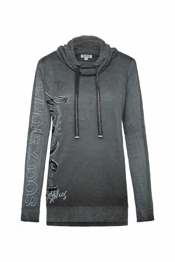 Pullover im Materialmix mit Artwork black