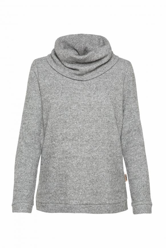Pullover in Rippstrick mit Rollkragen grey melange
