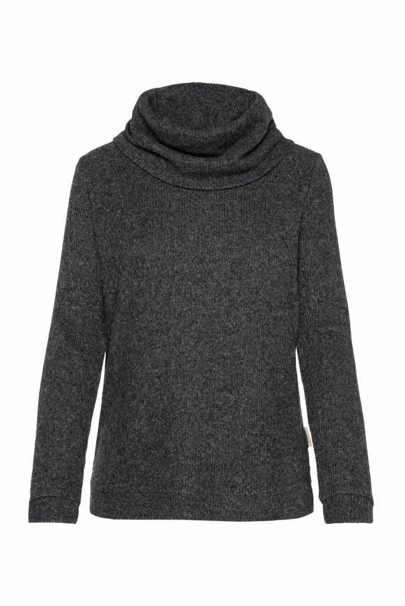Pullover in Rippstrick mit Rollkragen black melange