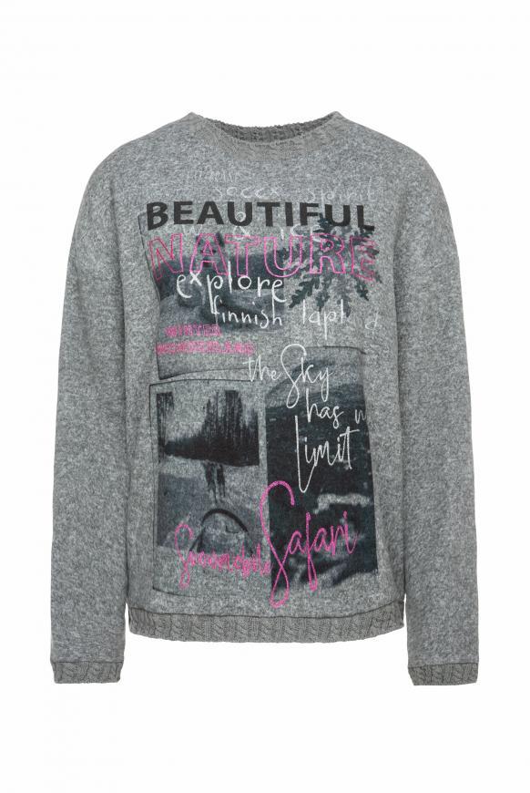 Pullover mit Foto- und Glitter-Print dark greymelange
