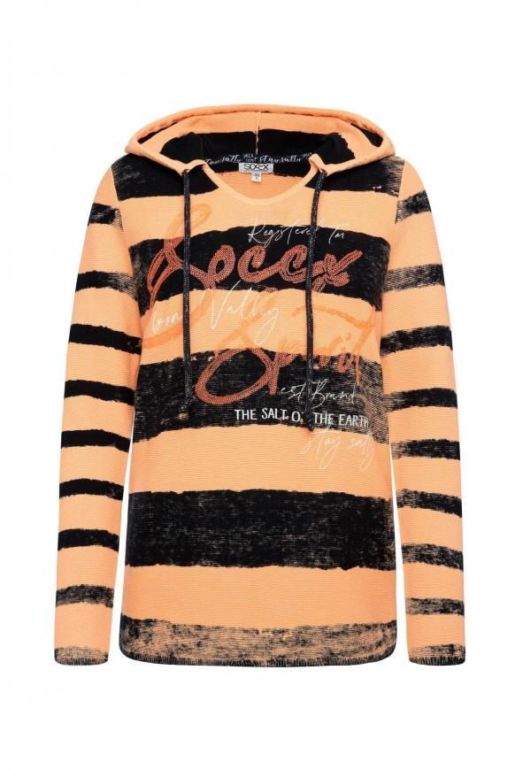 Pullover mit Kapuze, Streifen und Artwork sunrise neon