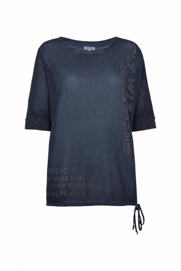 Pullover mit Mesh-Struktur und Artwork blue navy
