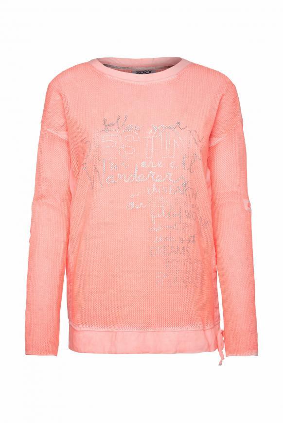 Pullover mit Meshstruktur und Foliendruck orange glow