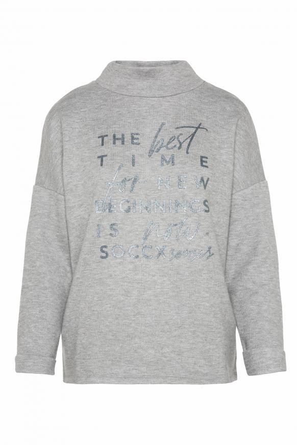 Pullover mit Stehkragen und Glitter Print grey melange