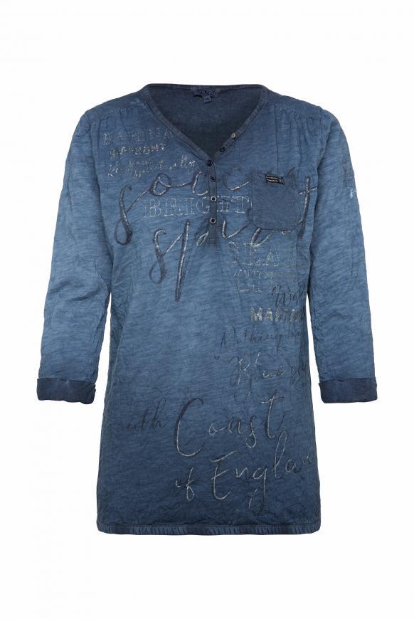 Serafino-Shirt mit Crinkle-Optik und Prints nautic navy