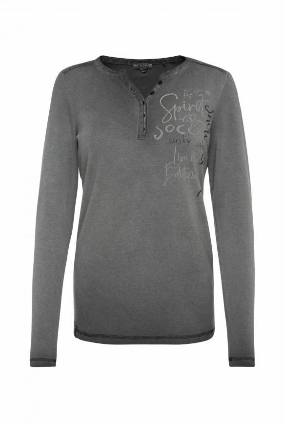 Serafino-Shirt mit Rücken-Artwork black