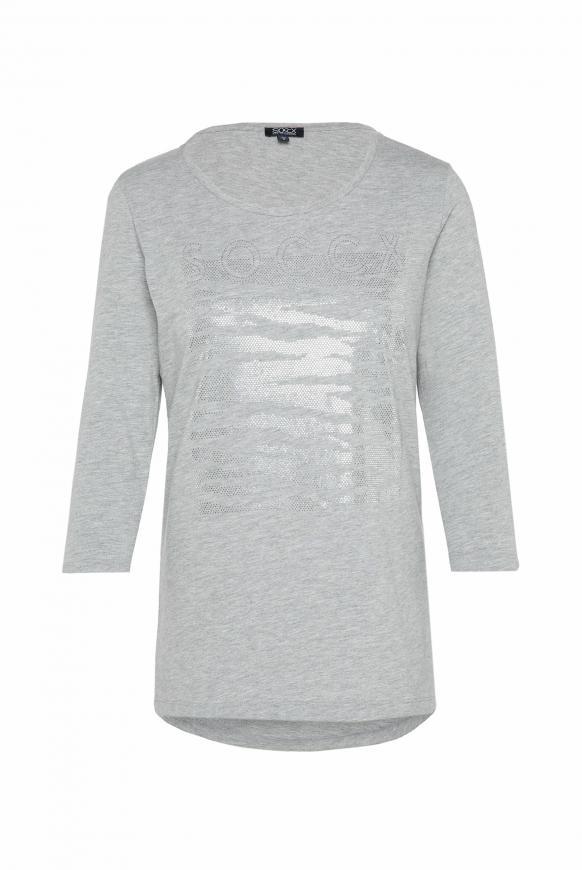 Shirt mit Logo Artwork aus Glitzersteinen grey melange