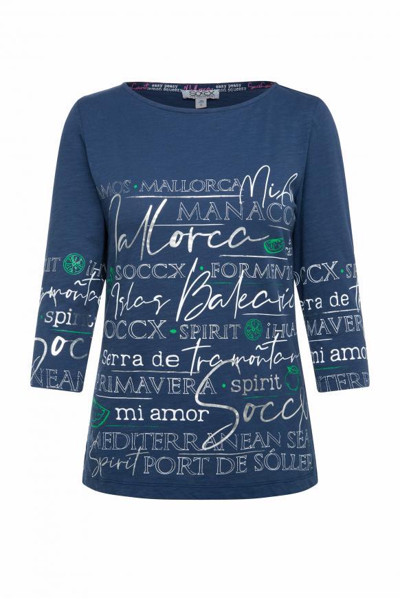 Shirt mit U-Boot-Ausschnitt und Artwork blue soul