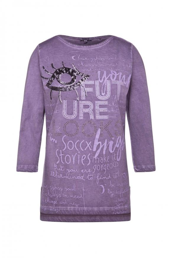 Shirt mit U-Boot-Ausschnitt und Artwork magic violet