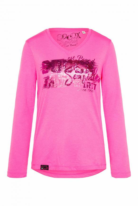 Shirt mit V-Ausschnitt und Logo Artwork knockout pink
