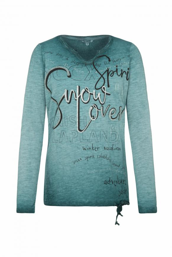 Shirt mit Wording Print und Bindeband-Saum arctic green