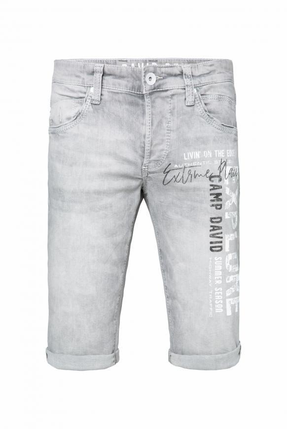 Skater Jeans Shorts RO:BI mit Label Print grey used printed