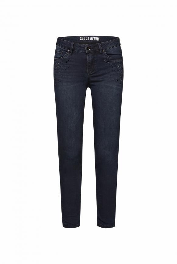 Slim Fit Jeans MI:RA mit Strasssteinen blue black sparkle