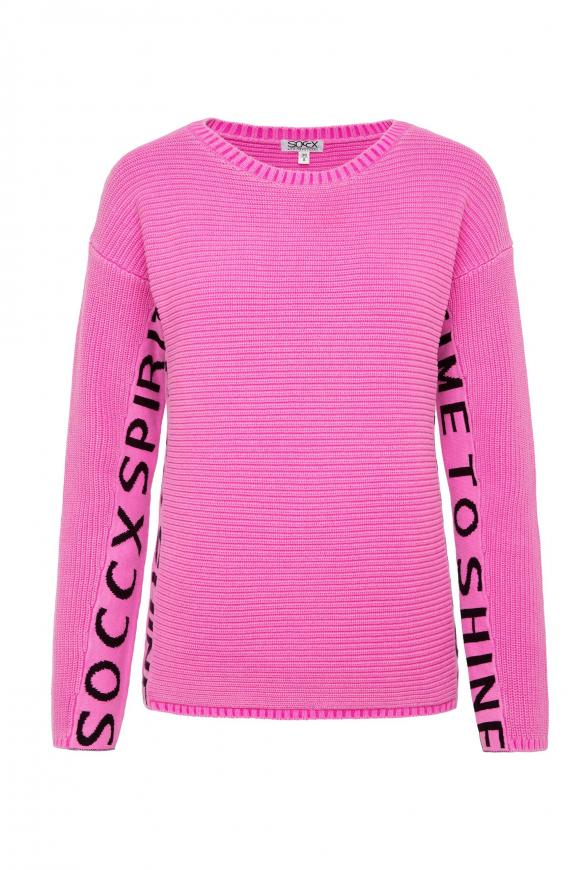 Stone Washed Pullover mit Logo Artwork electric magenta
