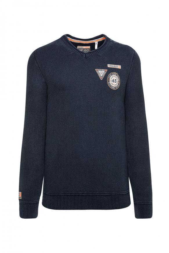 Stone Washed Pullover mit Patches blue navy