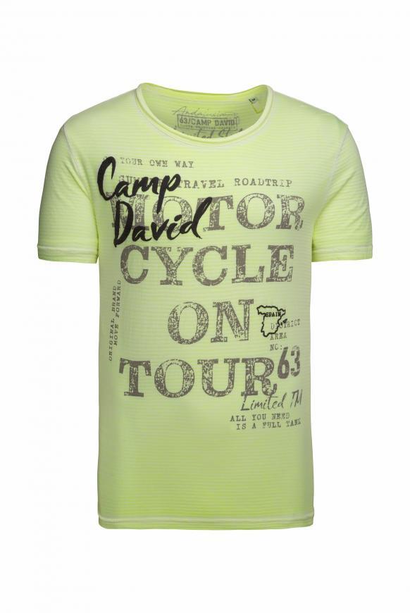 Streifenshirt mit Vintage- und Puff-Print neon lime