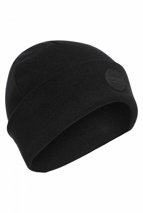Strickmütze mit Rubber Patch black
