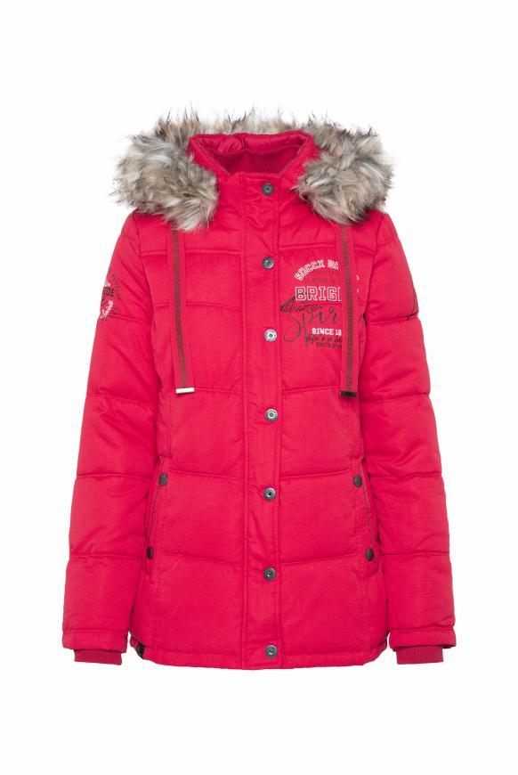 Strukturierte Jacke mit Artwork und Fake Fur cool red