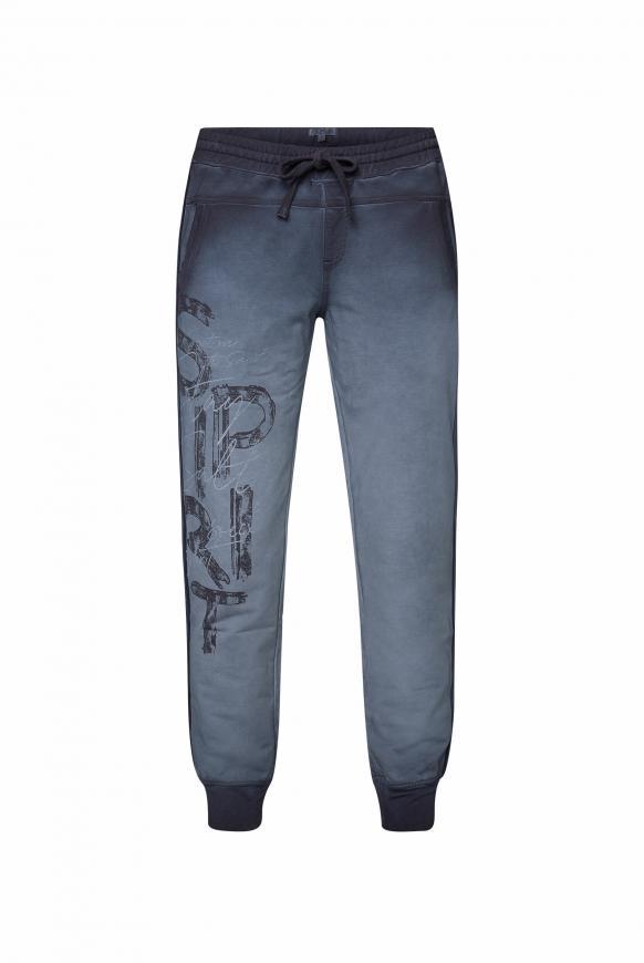 Sweatpants mit Seitentapes und Print horizon navy