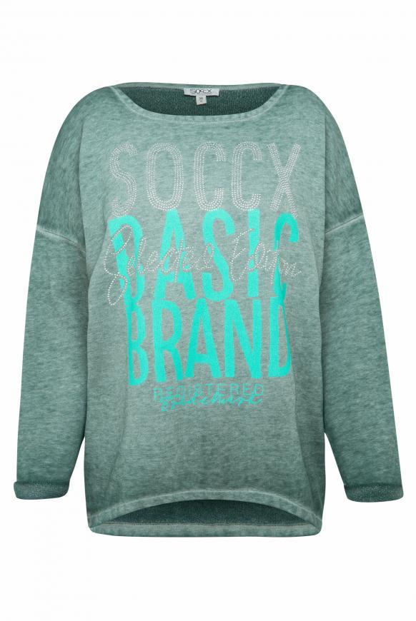 Sweatshirt mit Artwork und 3/4-Arm arctic green