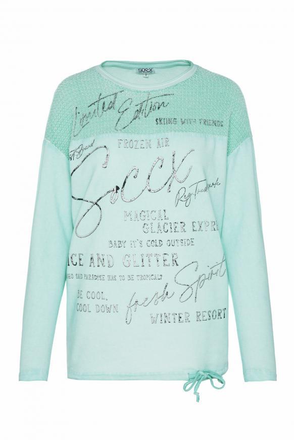 Sweatshirt mit Chenille-Strick und Logo Prints frozen aqua