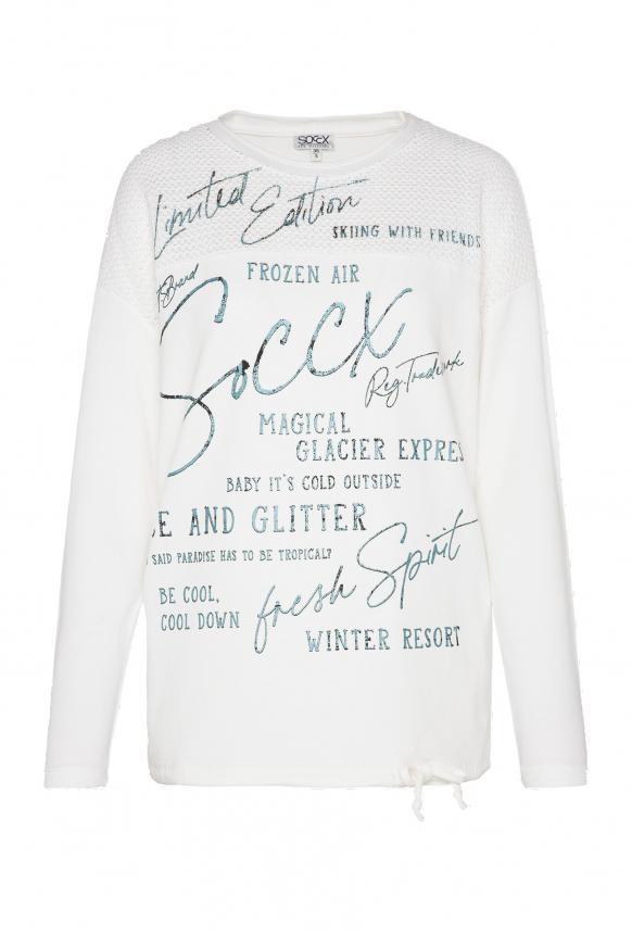 Sweatshirt mit Chenille-Strick und Logo Prints ivory
